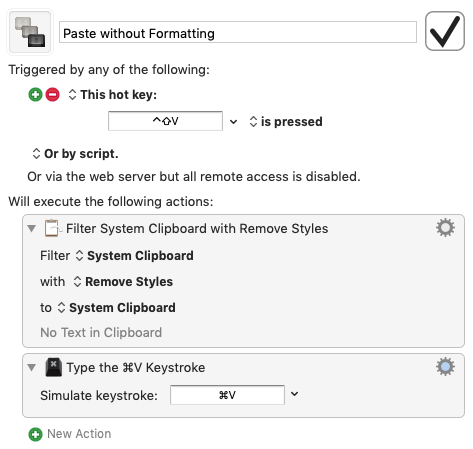 Paste without formatting steps